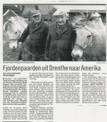 Dutch newspaper article about the sale to America, showing Prisco (right) with his breeders, the Oosting brothers.